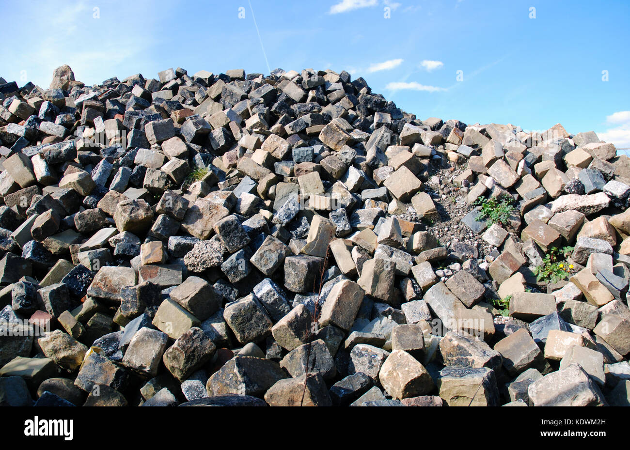 Pile of bricks from demolition of warehouse on Lancaster Quay Stock Photo