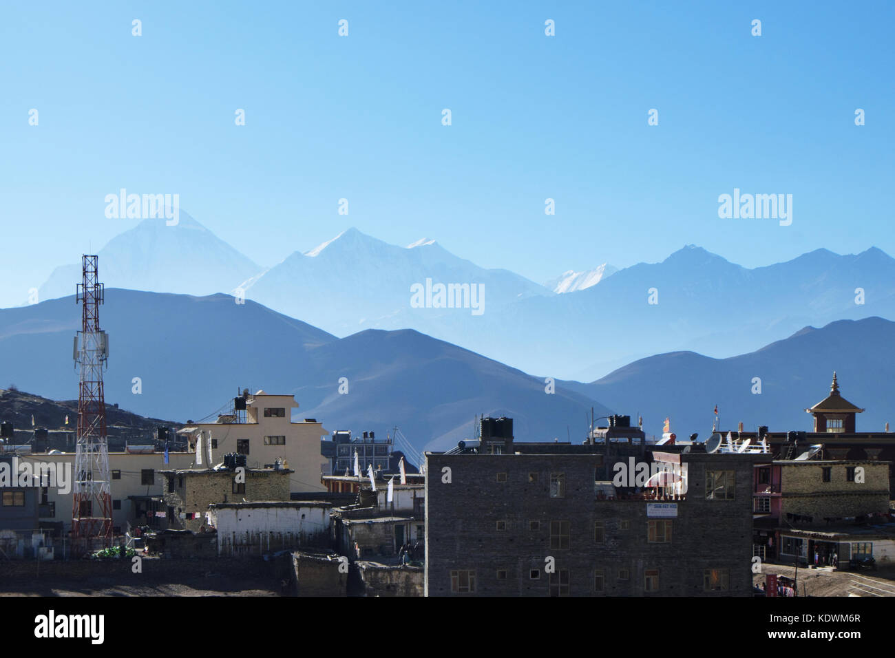 NEPAL. MUKTINATH - NOVEMBER 18, 2016 : View of Muktinath in the background of the silhouette of the Himalayas and - Stock Image