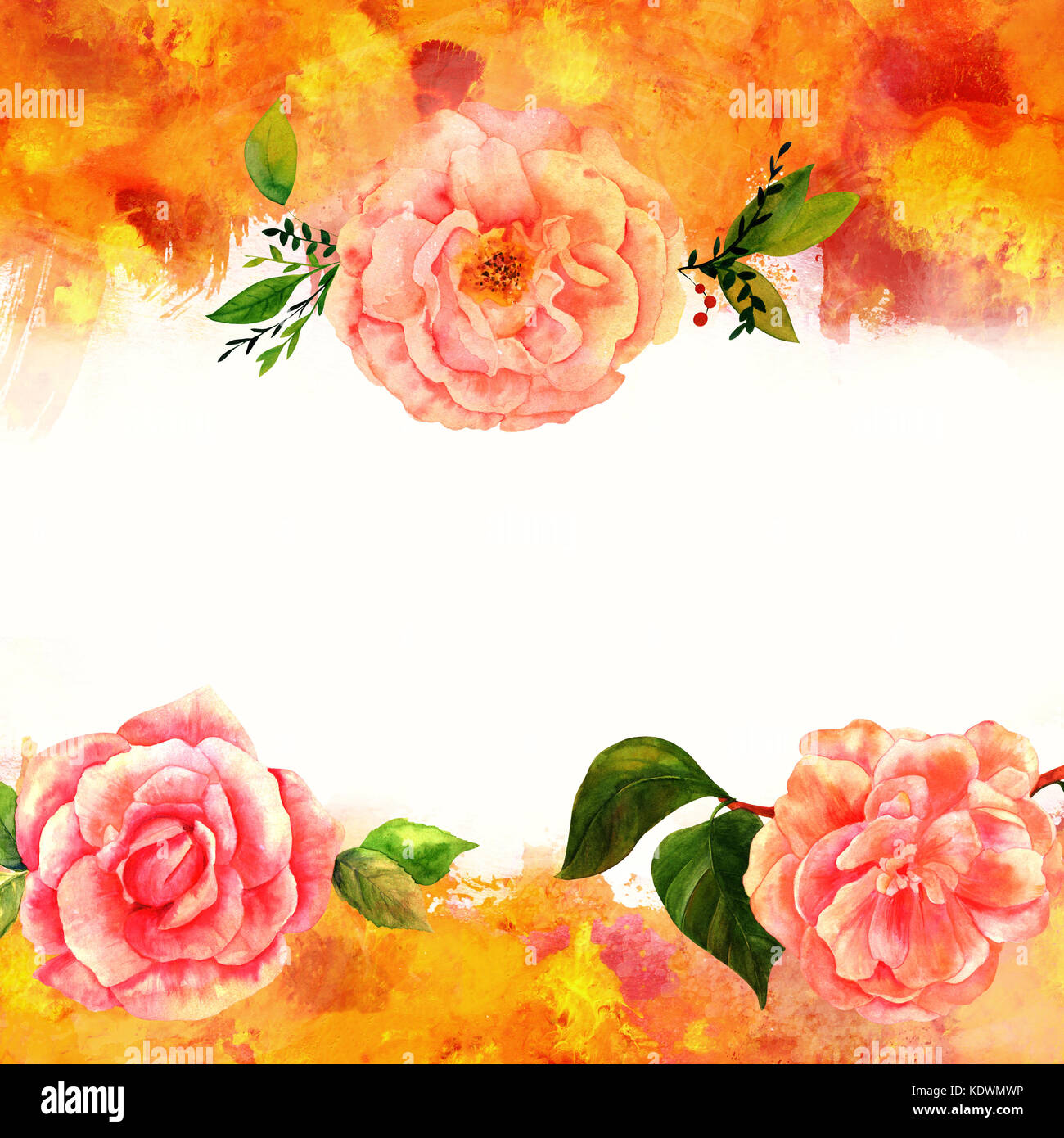 Background Texture With Vibrant Red Yellow Orange And White Painterly Brush Strokes