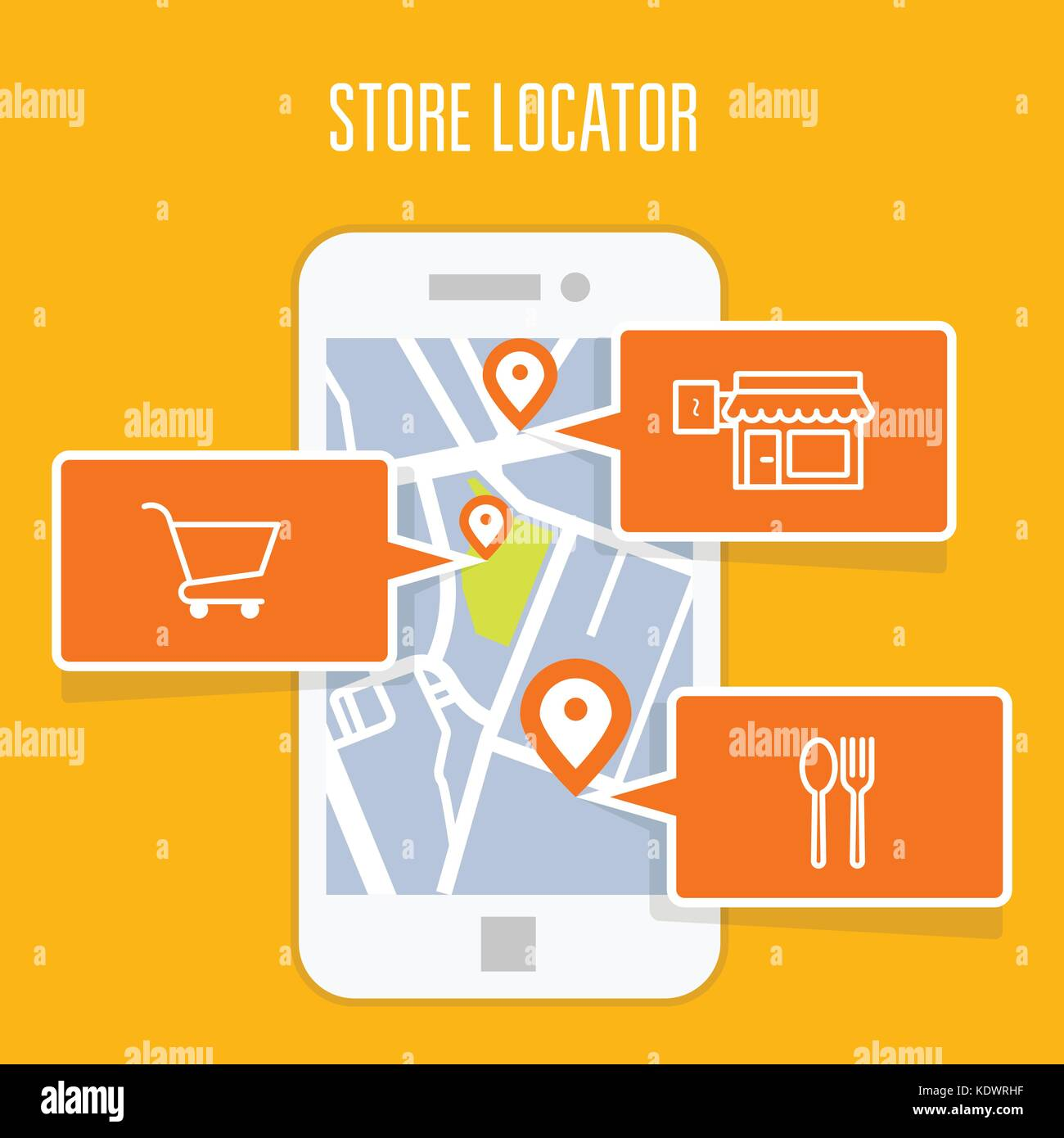 Store locator tracker app and mobile gps navigation - Stock Vector