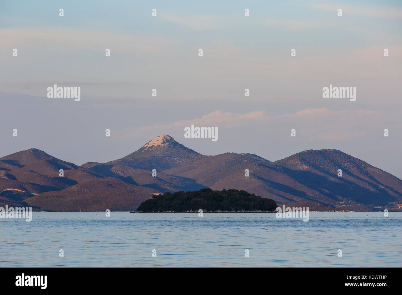 Nature of the mainland Greece as seen from Lefkada island in Greece. - Stock Image