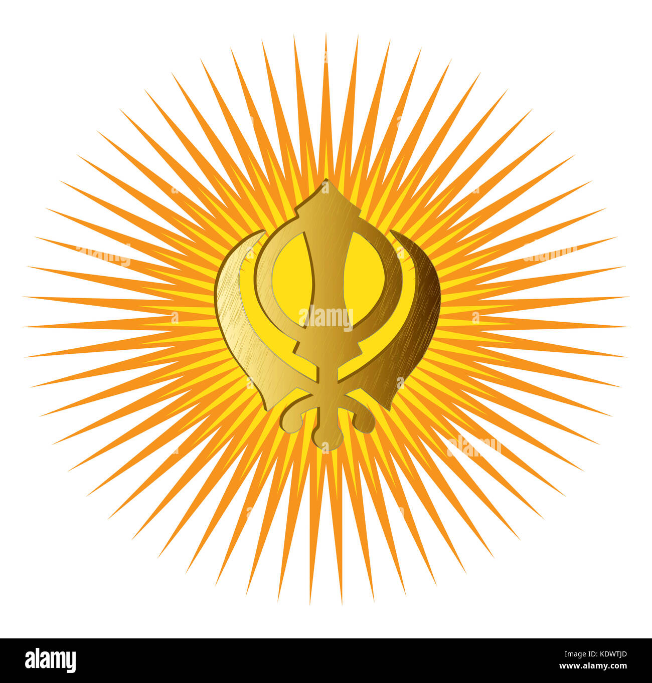 The main symbol of Sikhism - sign Khanda made of gold metal. Red and gold gradient rays, isolated, illustration - Stock Image