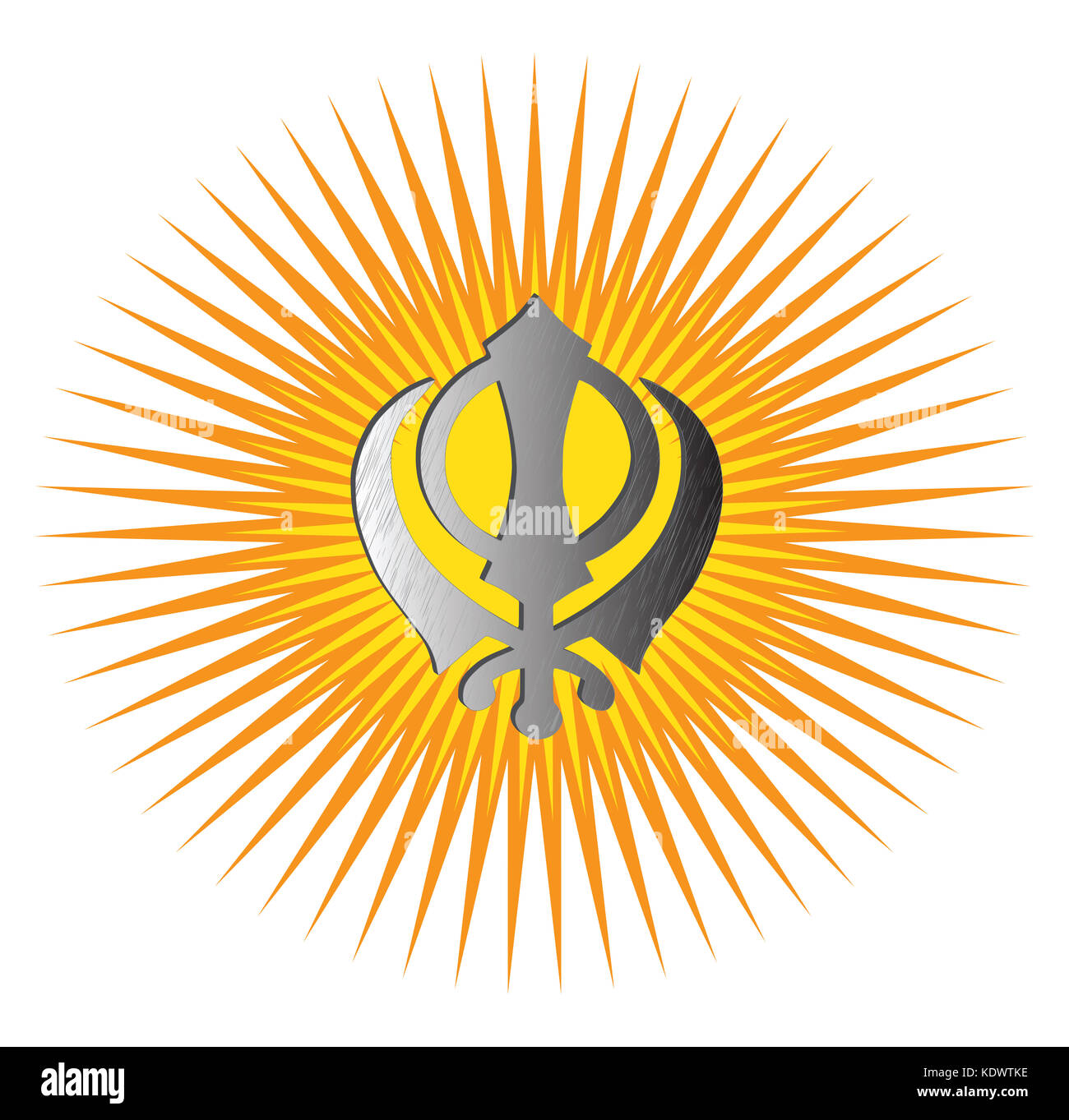 The main symbol of Sikhism – sign Khanda made of white metal. Red and gold gradient rays, isolated, illustration - Stock Image
