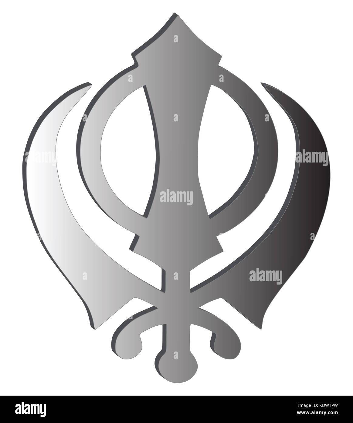 The main symbol of Sikhism – sign Khanda made of white metal, white background, isolated, illustration - Stock Image