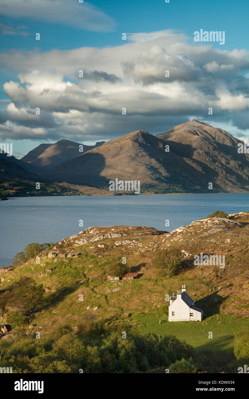 Bad Callda and Beinn Alligin with Liatach, Wester Ross, Scotland, UK, UK - Stock Image