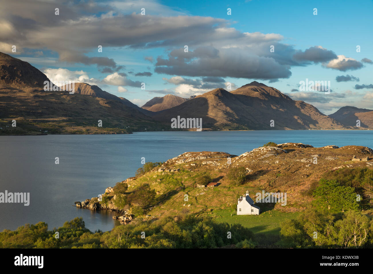 Bad Callda and Beinn Alligin with Liatach, Wester Ross, Scotland, UK - Stock Image