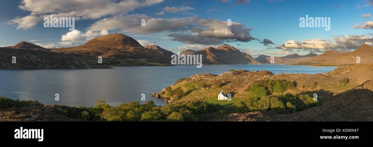 Bad Callda and Beinn Alligin with Liatach, Wester Ross, Scotland, UK - Stock Image