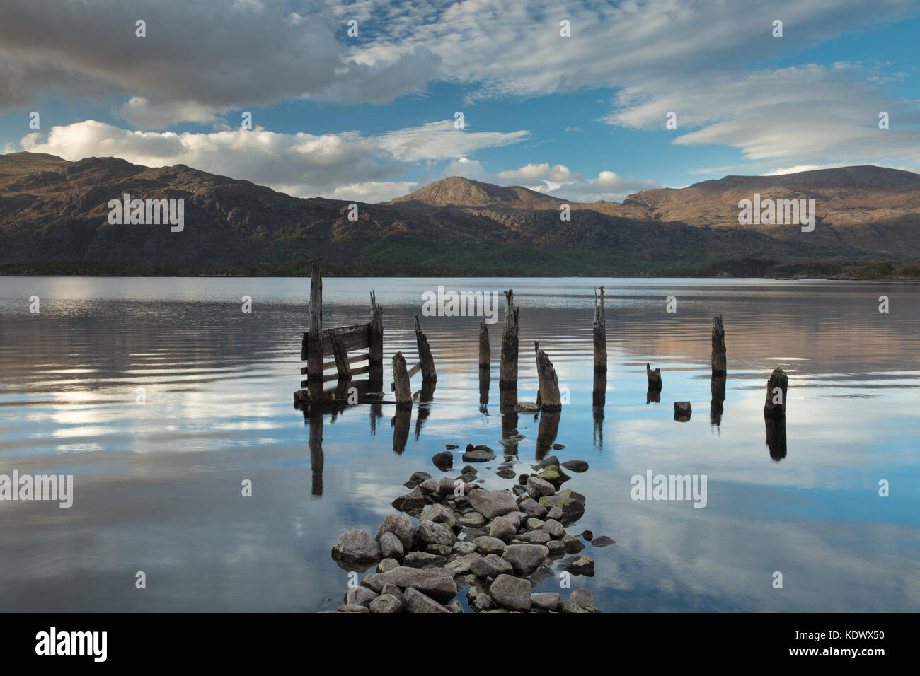 Loch Maree & Slioch at dusk, Wester Ross, Scotland, UK - Stock Image