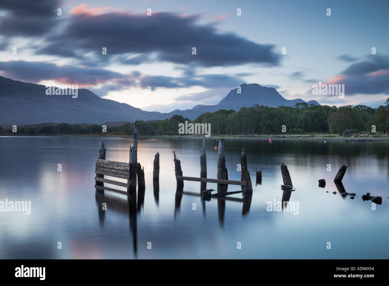 Loch Maree & Slioch at dawn, Wester Ross, Scotland, UK - Stock Image