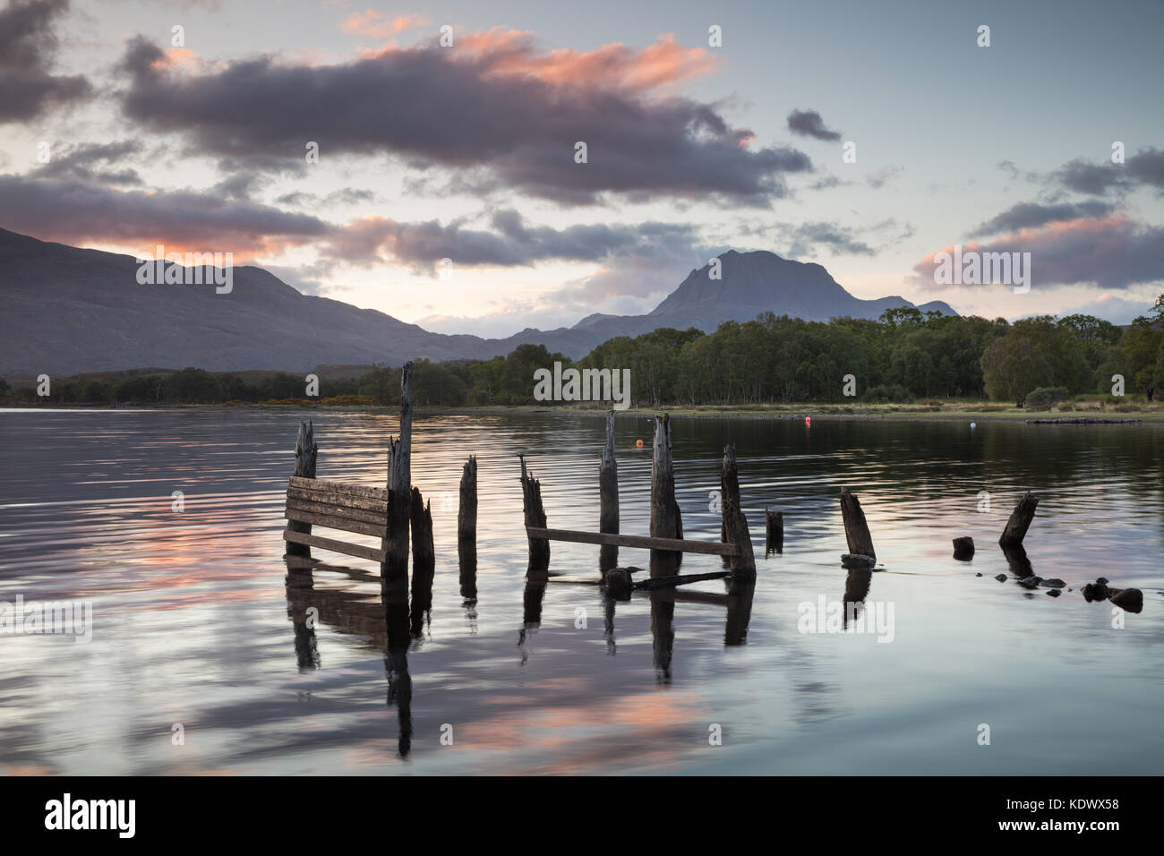 Loch Maree and Slioch, Wester Ross, Scotland, UK - Stock Image