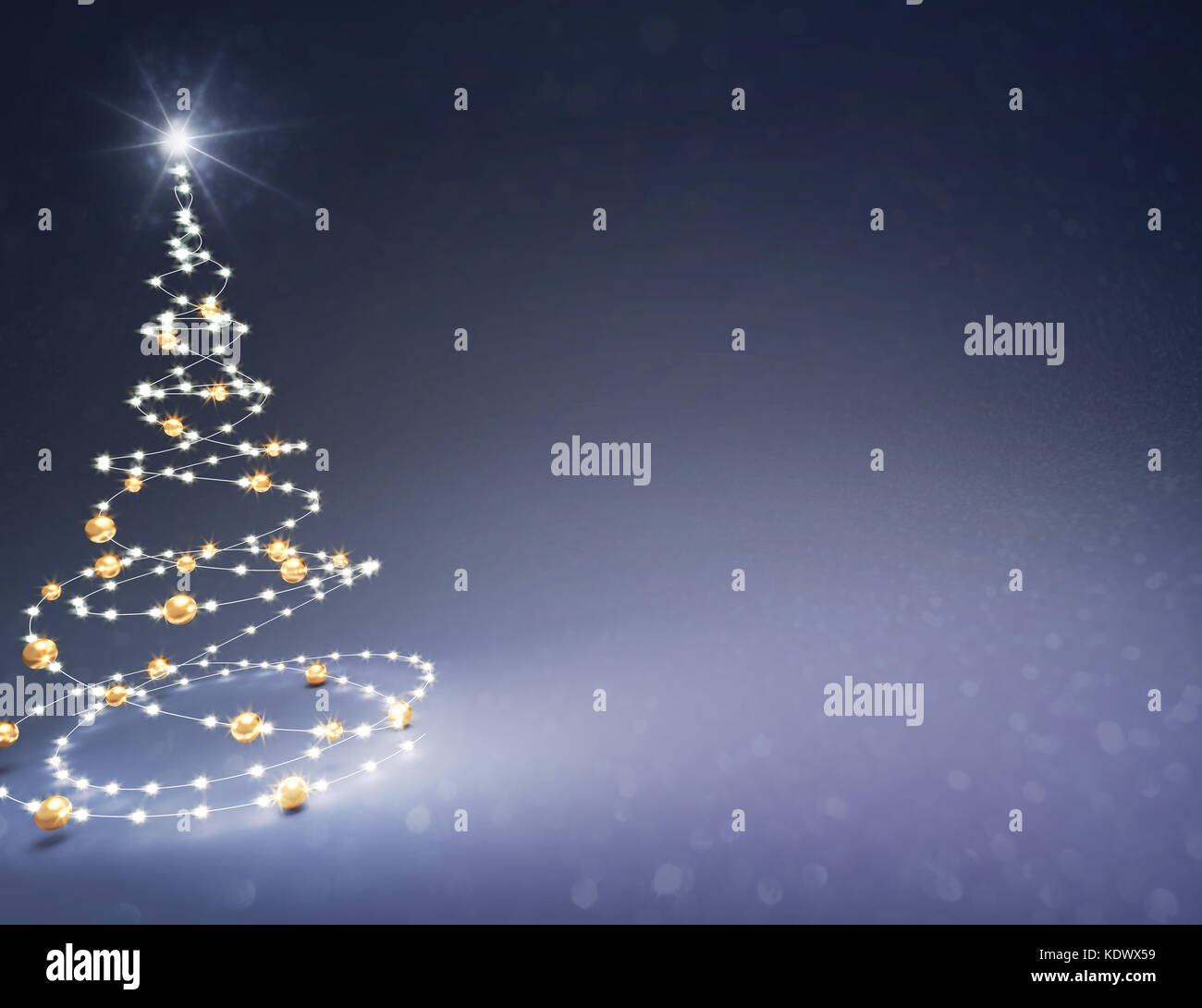 Christmas tree illustrated with light strings and gold Christmas balls on a glittering black background - 3D illustration - Stock Image