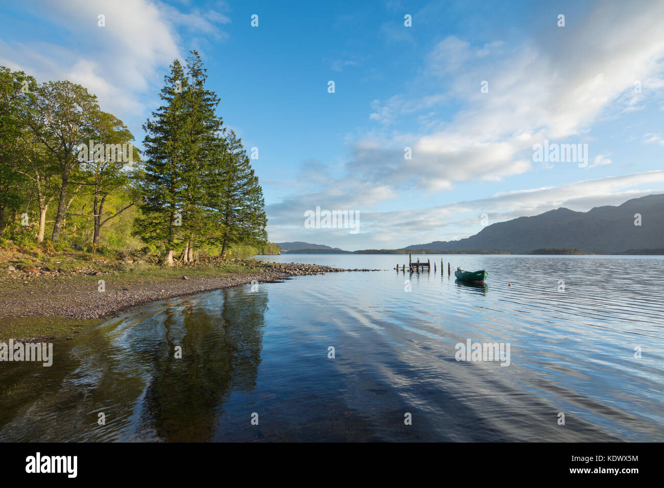 Boat on Loch Maree, Wester Ross, Scotland - Stock Image