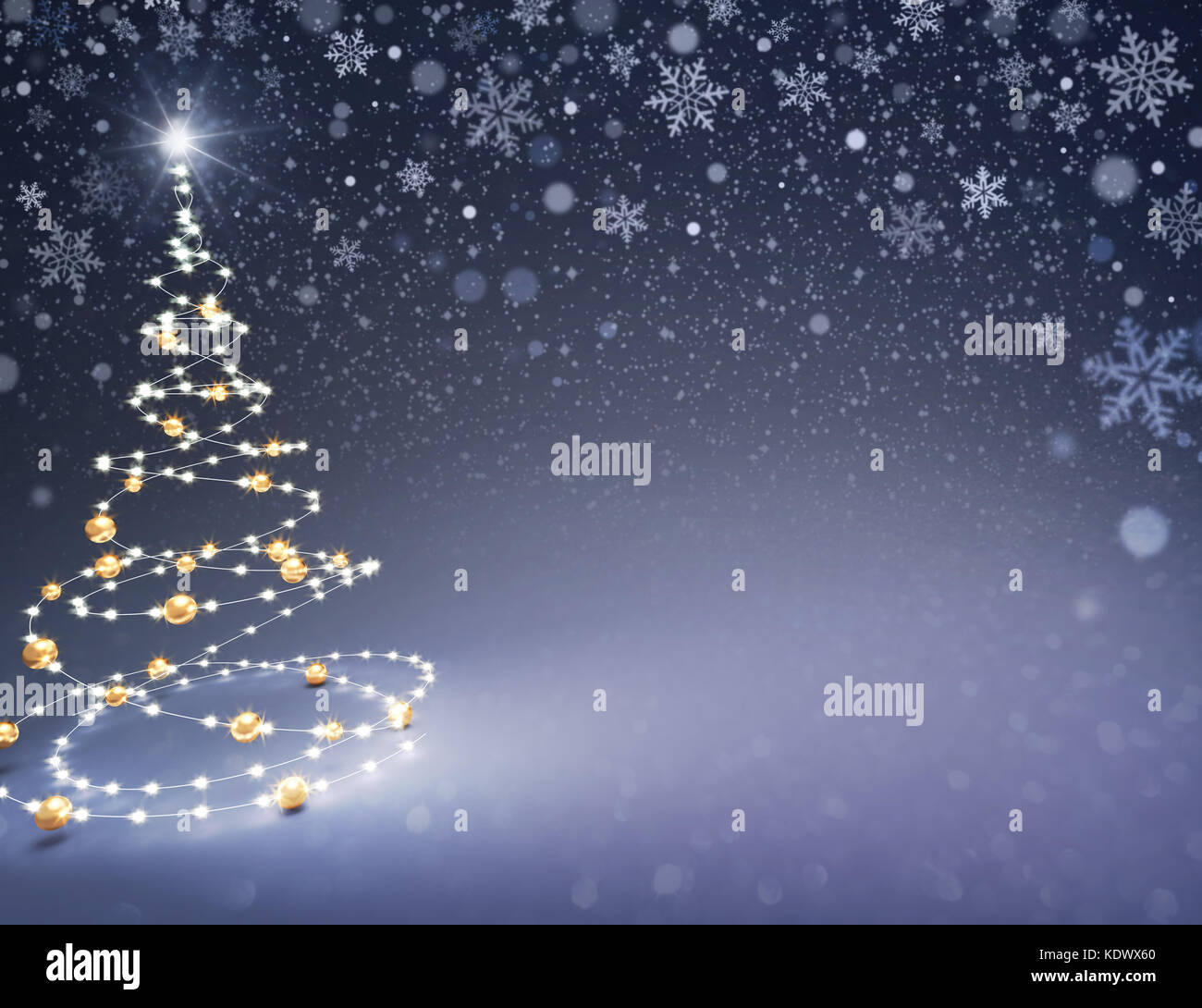 Christmas tree illustrated with light strings and gold Christmas balls on a snowy black background - 3D illustration - Stock Image