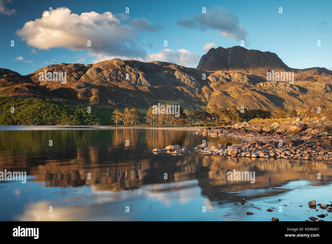 Evening light & perfect reflections on Loch Maree & Slioch, Wester Ross, Scotland - Stock Image