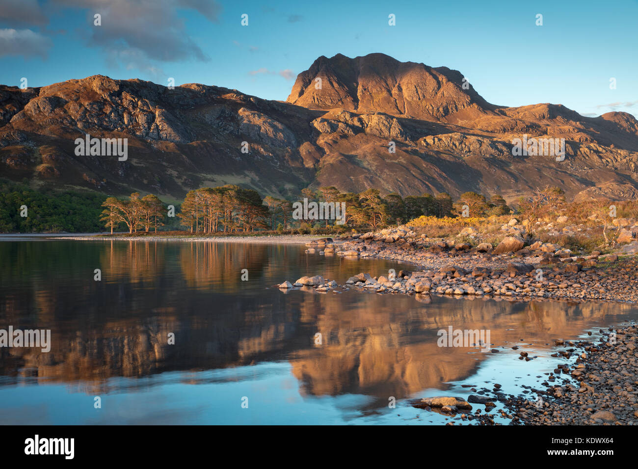 Evening light, reflections Loch Maree & Slioch, Wester Ross, Scotland - Stock Image
