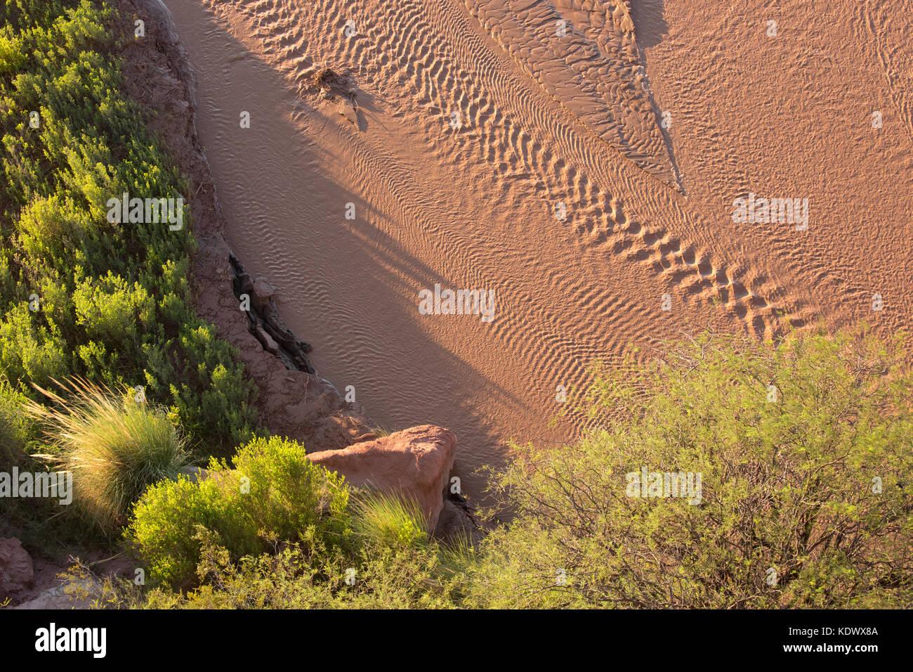 River at the Quebrada de la Conches, Valles Calchaquies, Salta Province, Argentina - Stock Image