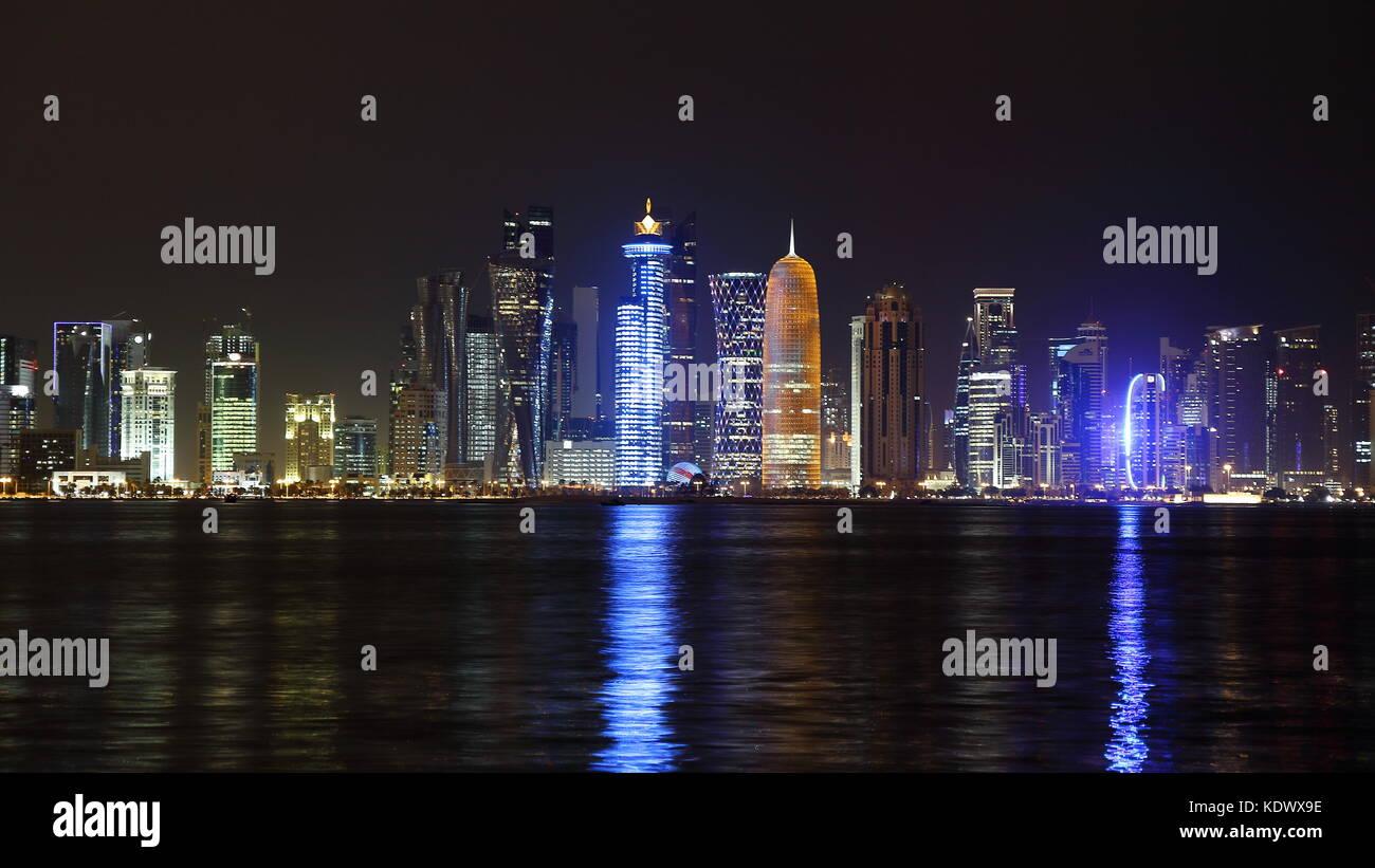 Night skyline of Doha Newtown, Qatar - Stock Image
