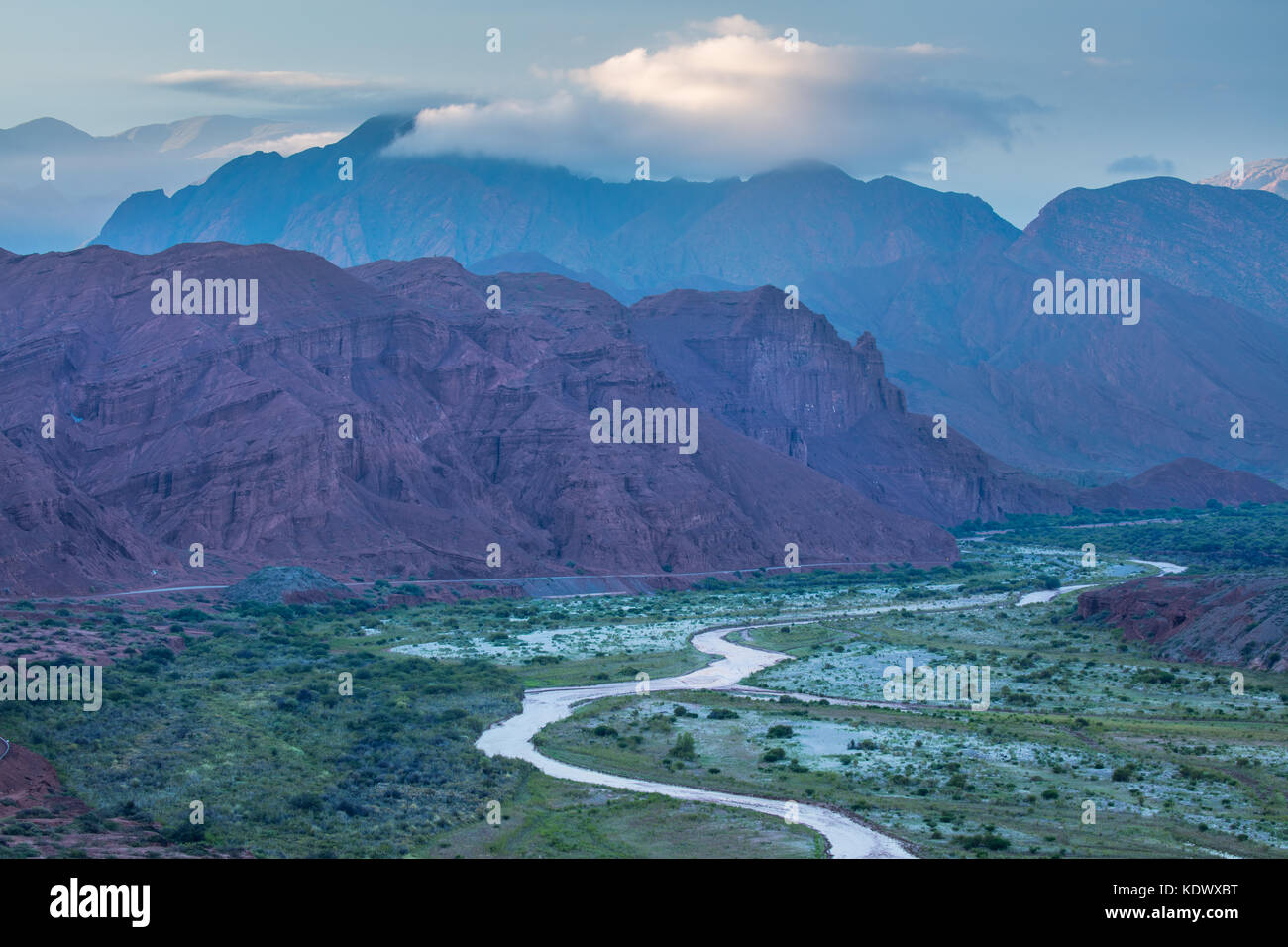 The Quebrada de la Conches from the Mirador Tres Cruces in Valles Calchaquies, Salta Province, Argentina - Stock Image