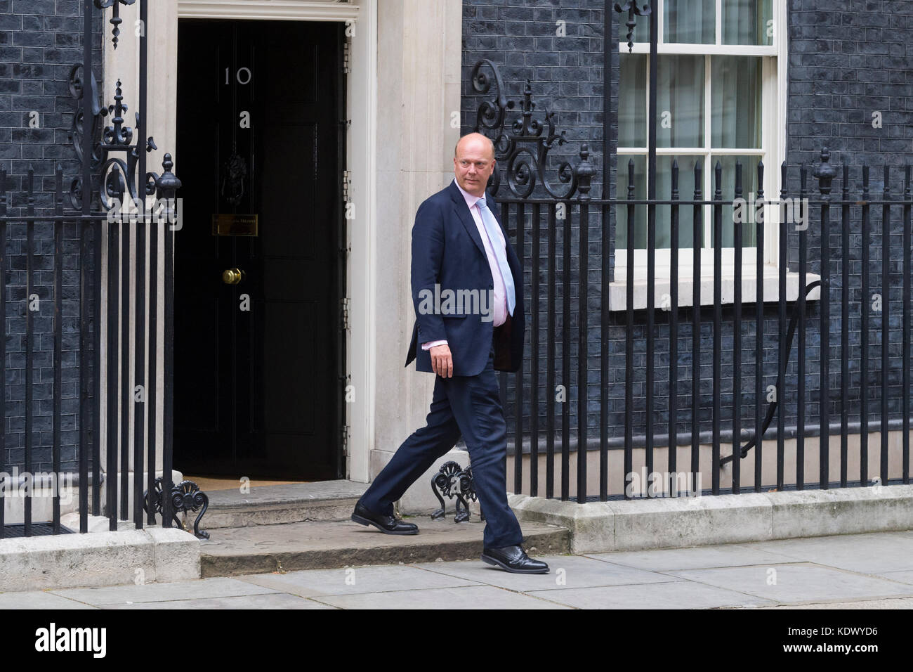 Chris Grayling MP, Secretary of State for Transport leaving a 2.5 hour cabinet meeting at 10 Downing Street, London, - Stock Image