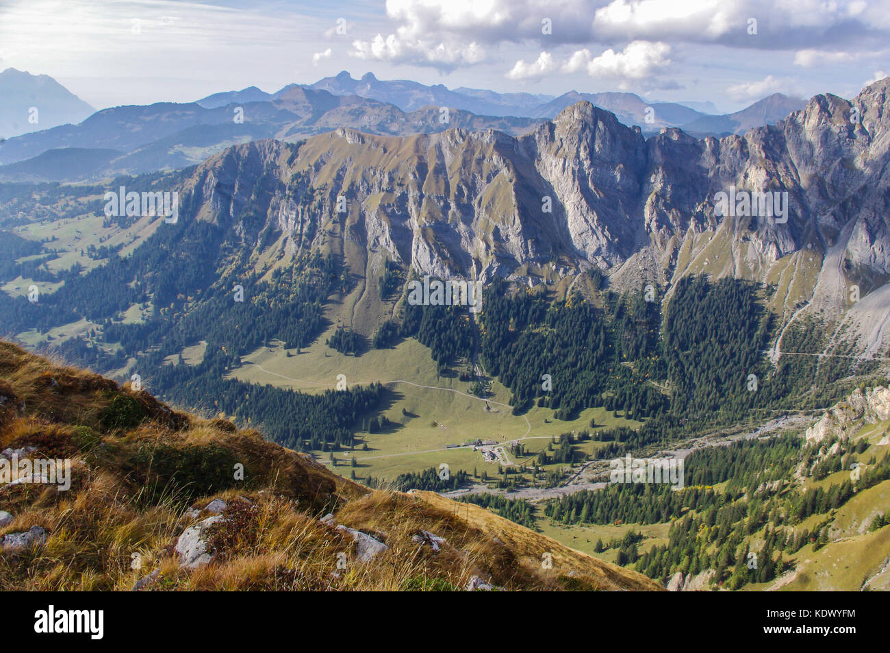 Alpine View of the Chaux Ronde mountain ridge and mountain valley in the Swiss Alps. Vaude, Switzerland - Stock Image