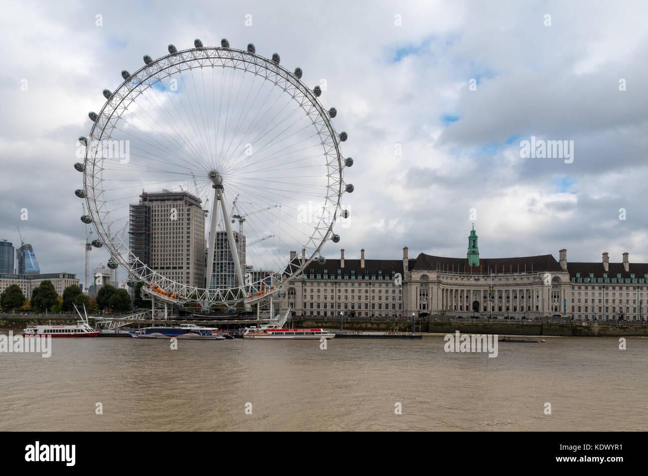 Coca-Cola London Eye from Victoria Embankment - Stock Image