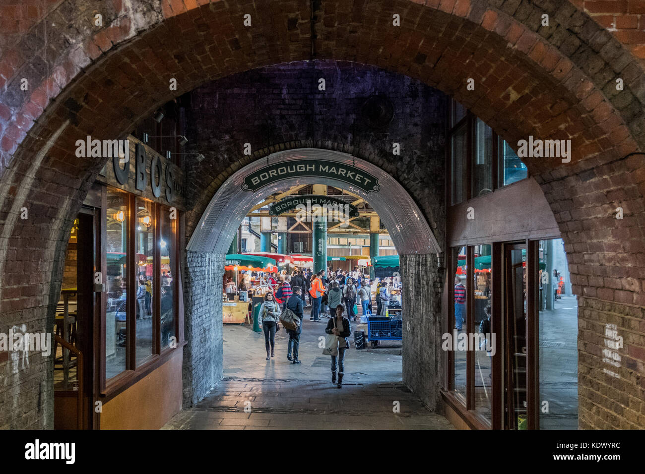 Borough Market archway entrance - Stock Image