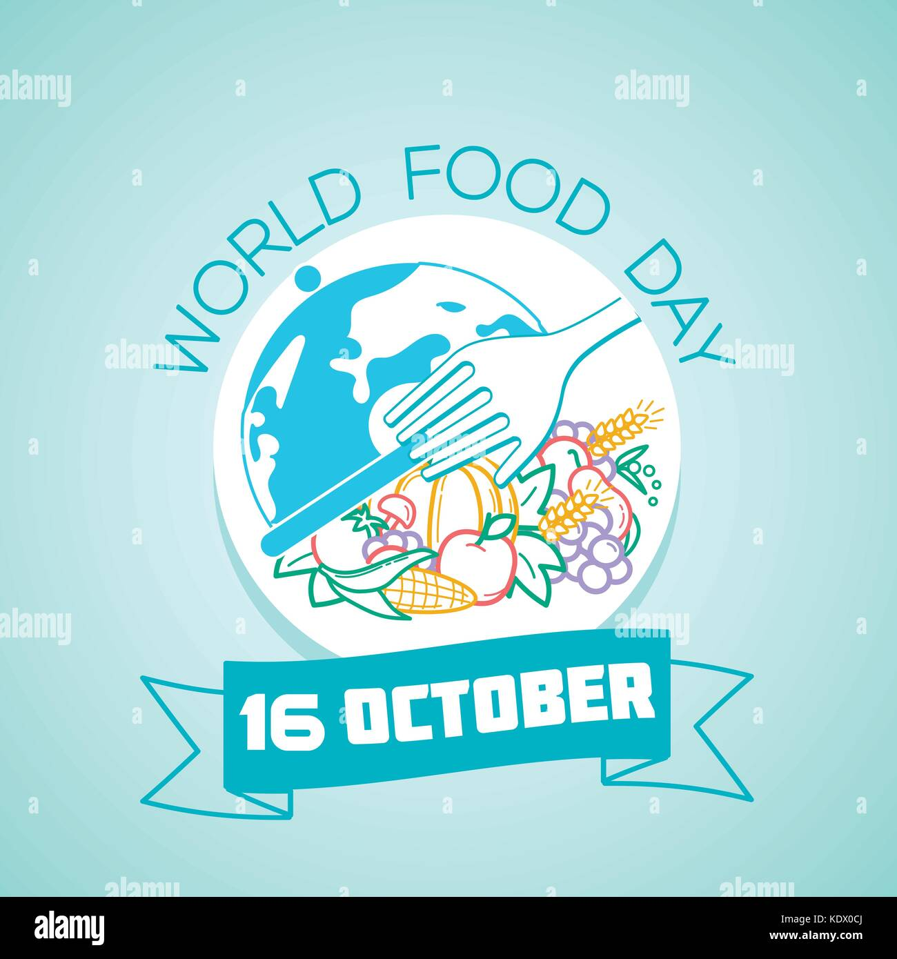 Calendar for each day on october 16. Greeting card. Holiday -  World Food Day. Icon in the linear style - Stock Image