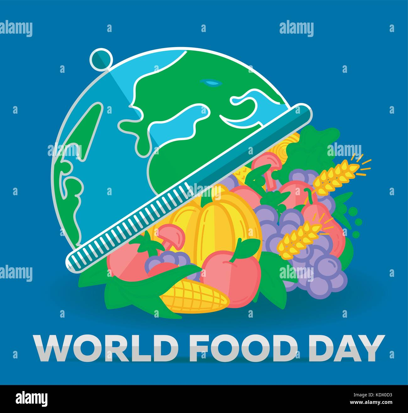 Greeting card. Holiday -  World Food Day. Icon in the flat style - Stock Image