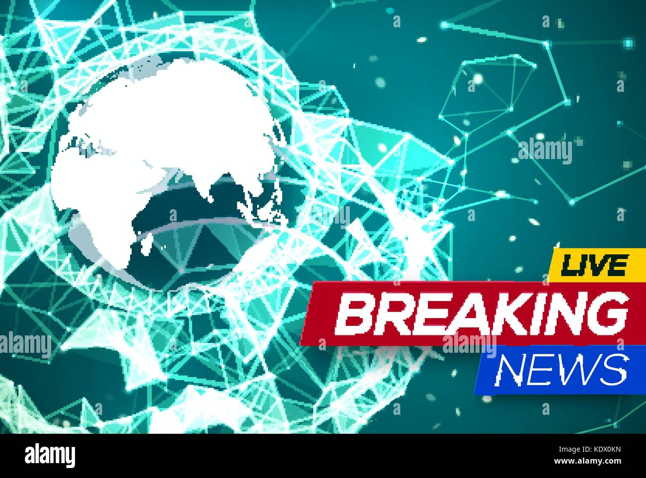 Breaking News Live with World Map Africa and Europe on Green Stock ...
