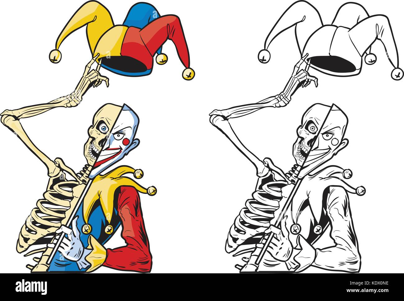 Vector cartoon clip art illustration of a scary half skeleton half joker or jester or harlequin tipping his hat - Stock Vector