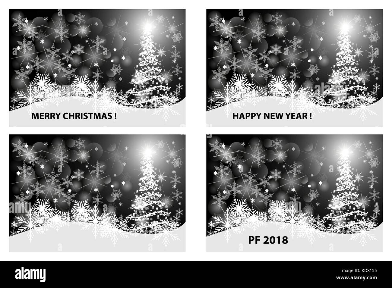 Merry Christmas, Happy New Year, PF 2018, Christmas card - white and ...