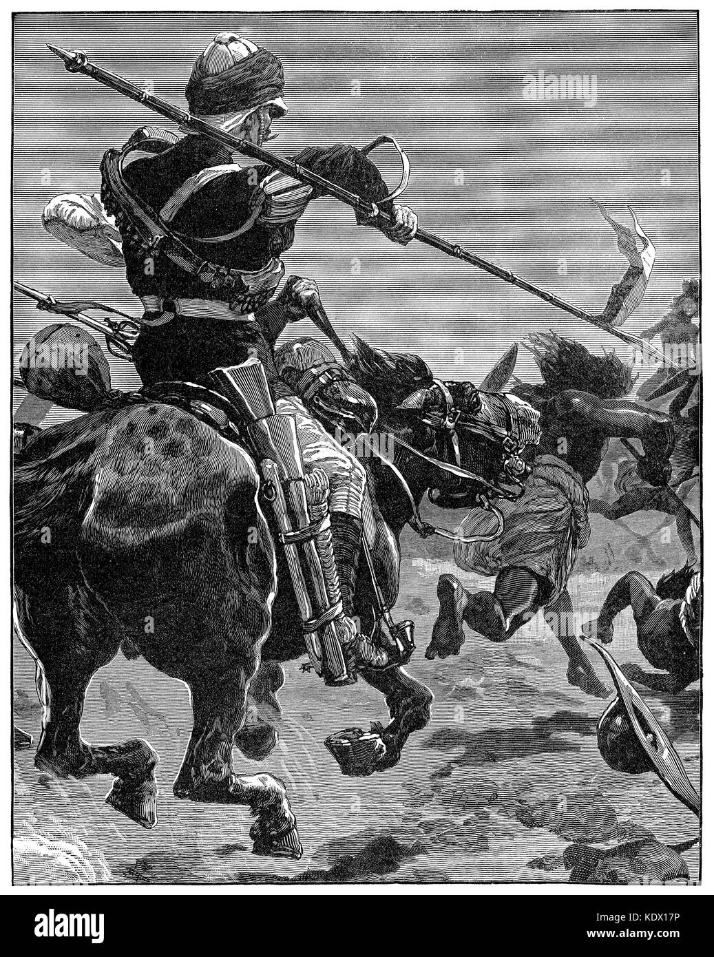 1887 engraving of a British cavalry skirmish in the Sudan. - Stock Image