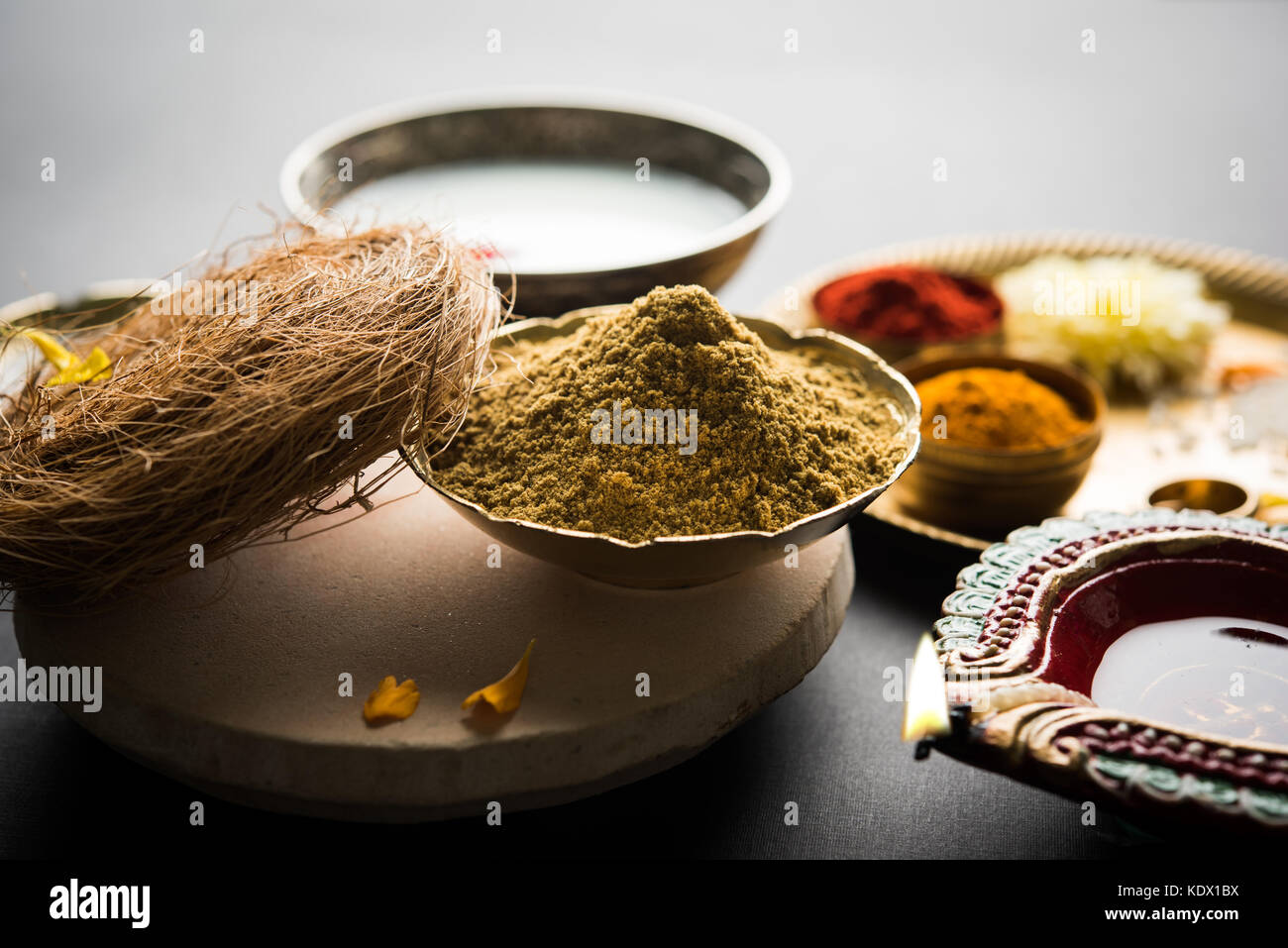 Abhyanga Snan on first day of Diwali - special herbal bath with ubtan or Utne, a mix herbal powder to have bath - Stock Image
