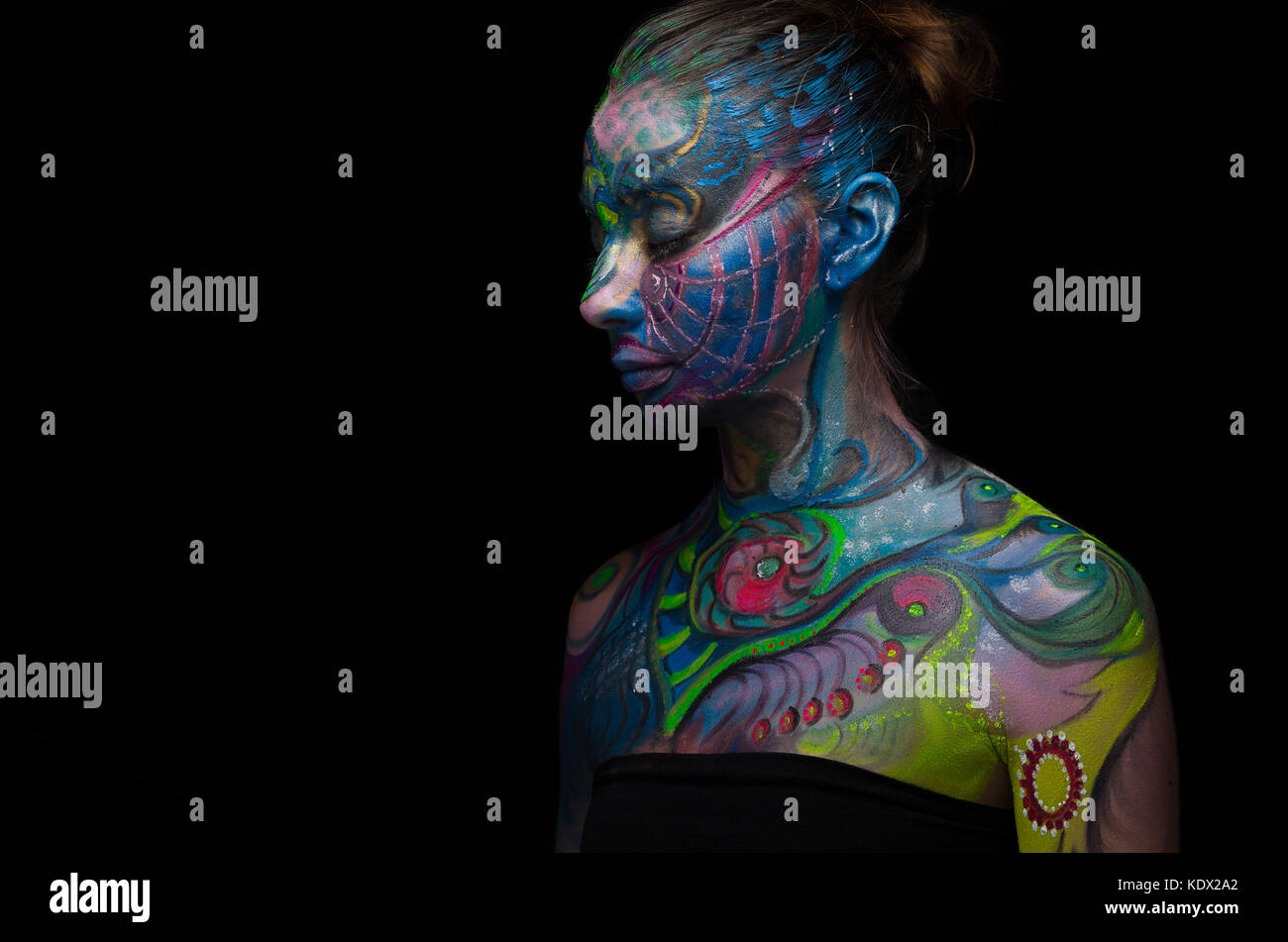 Beautiful body art - Artistic face (left side view) - Stock Image