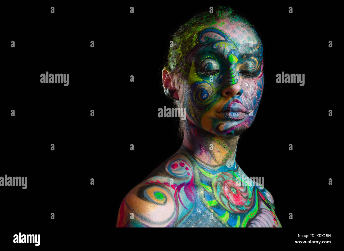 Beautiful body art - Artistic face (front view) - Stock Image