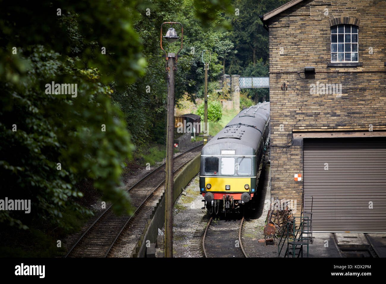 Pennines village, Haworth in West Yorkshire, England. a DMU on the Keighley and Worth Valley Railway - Stock Image