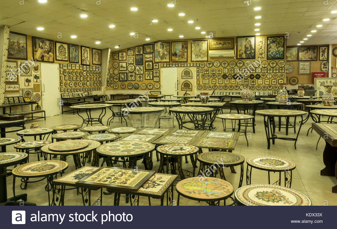 Interior of Madaba Art and Handicraft Centre with mosaic wall Stock ...