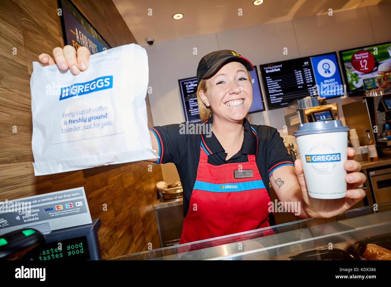 Bolton Interchange opens with a new Greggs shop inside   Pictured manager Jen EckersleyJRW Group rebrand to Ripe. - Stock Image