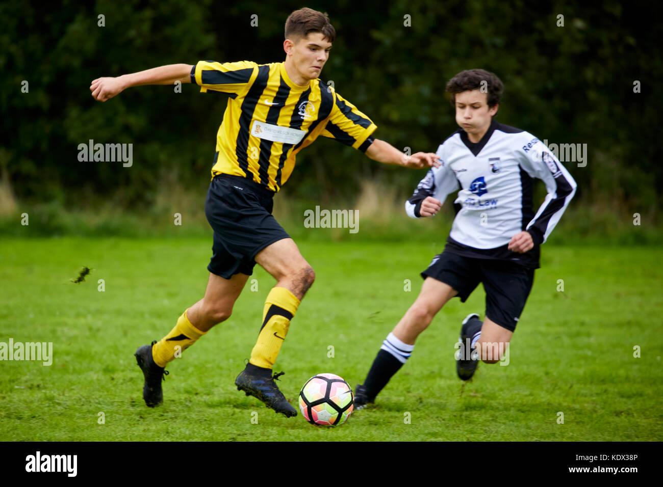 Highfield Grange FC under 15s sporting their new David Wilson Homes sponsored kit.  JRW Group rebrand to Ripe. Stock Photo
