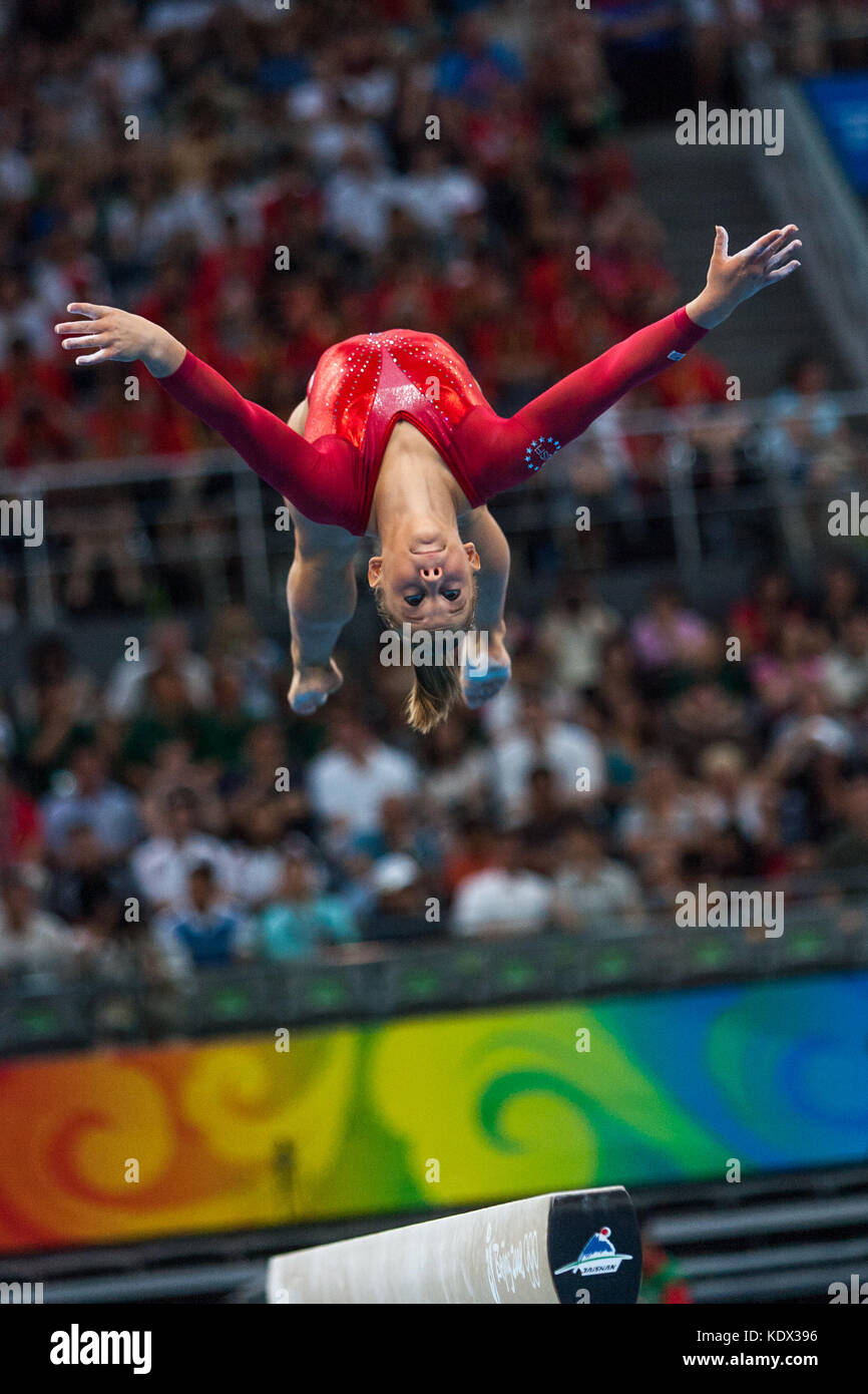 Shawn Johnson (USA) Women's Individual All Around Gymnastics silver medalist competing on the balance beam at the Stock Photo