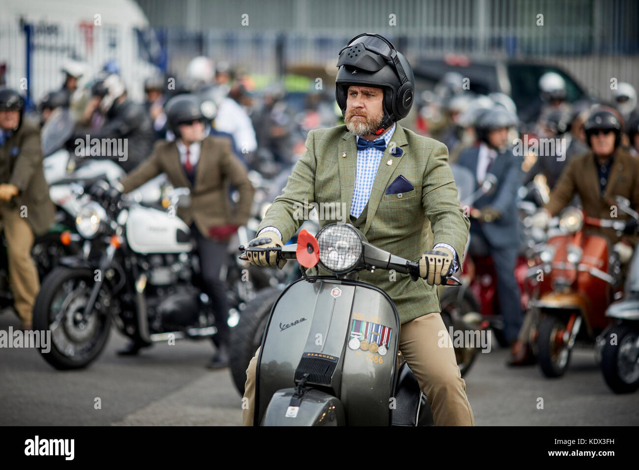 Manchester Distinguished Gentleman's Ride from Youles Motorcycles Bury Road Showroom to Castlefield - Stock Image