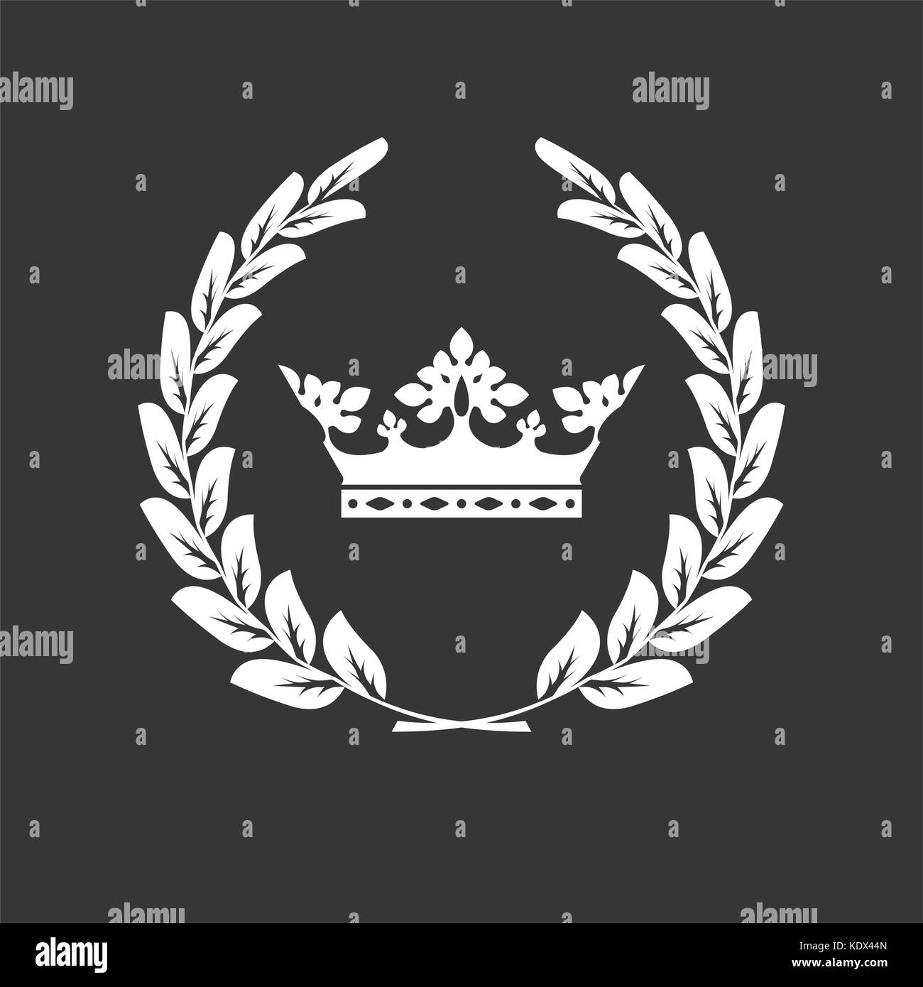 Crown and laurel wreath - family blazon or coat of arms - Stock Vector