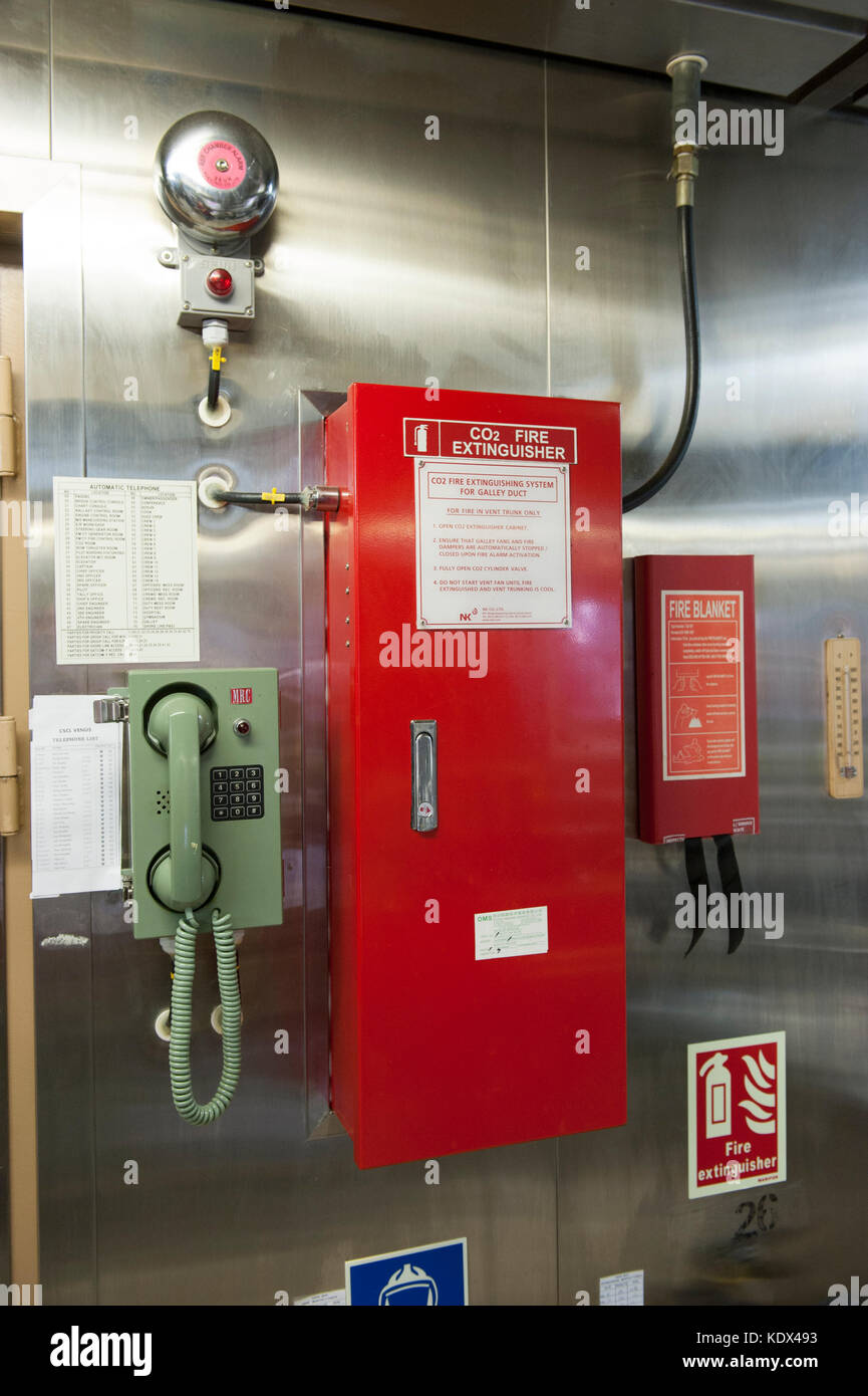 Automatic C02 fire extinguishing system on a container ship - Stock Image