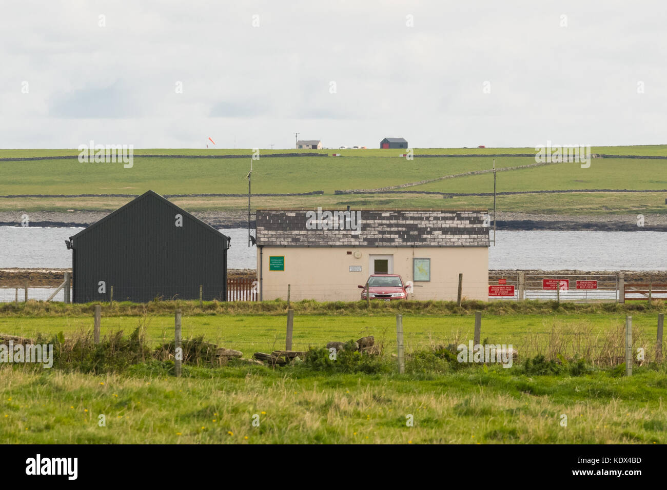 Westray Airport in the foreground and Papa Westray Airport on the horizon, Orkney Islands, Scotland, UK - Stock Image