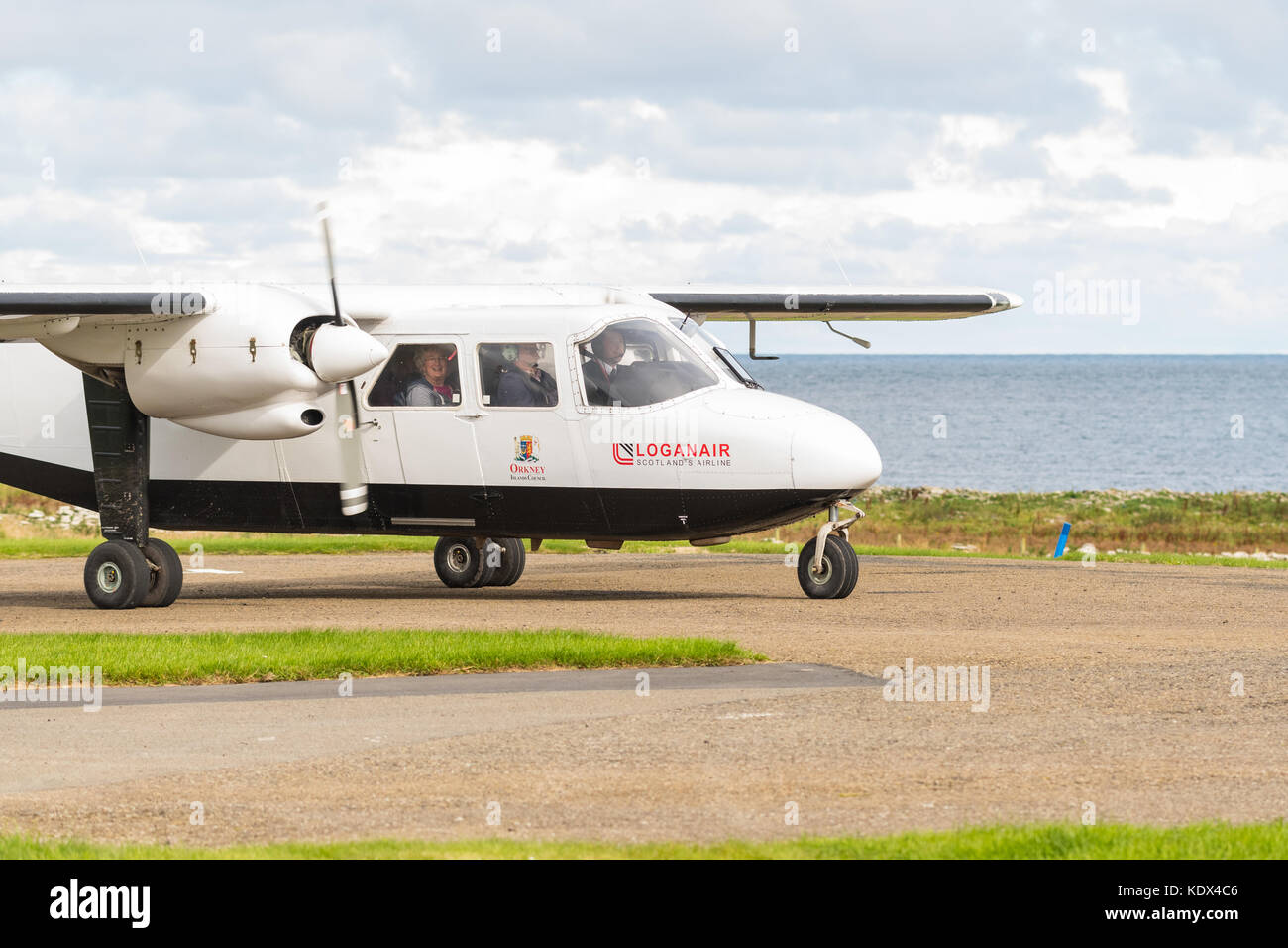 Loganair plane at Westray airport after flying from Papa Westray, Orkney Islands, Scotland, UK - Stock Image