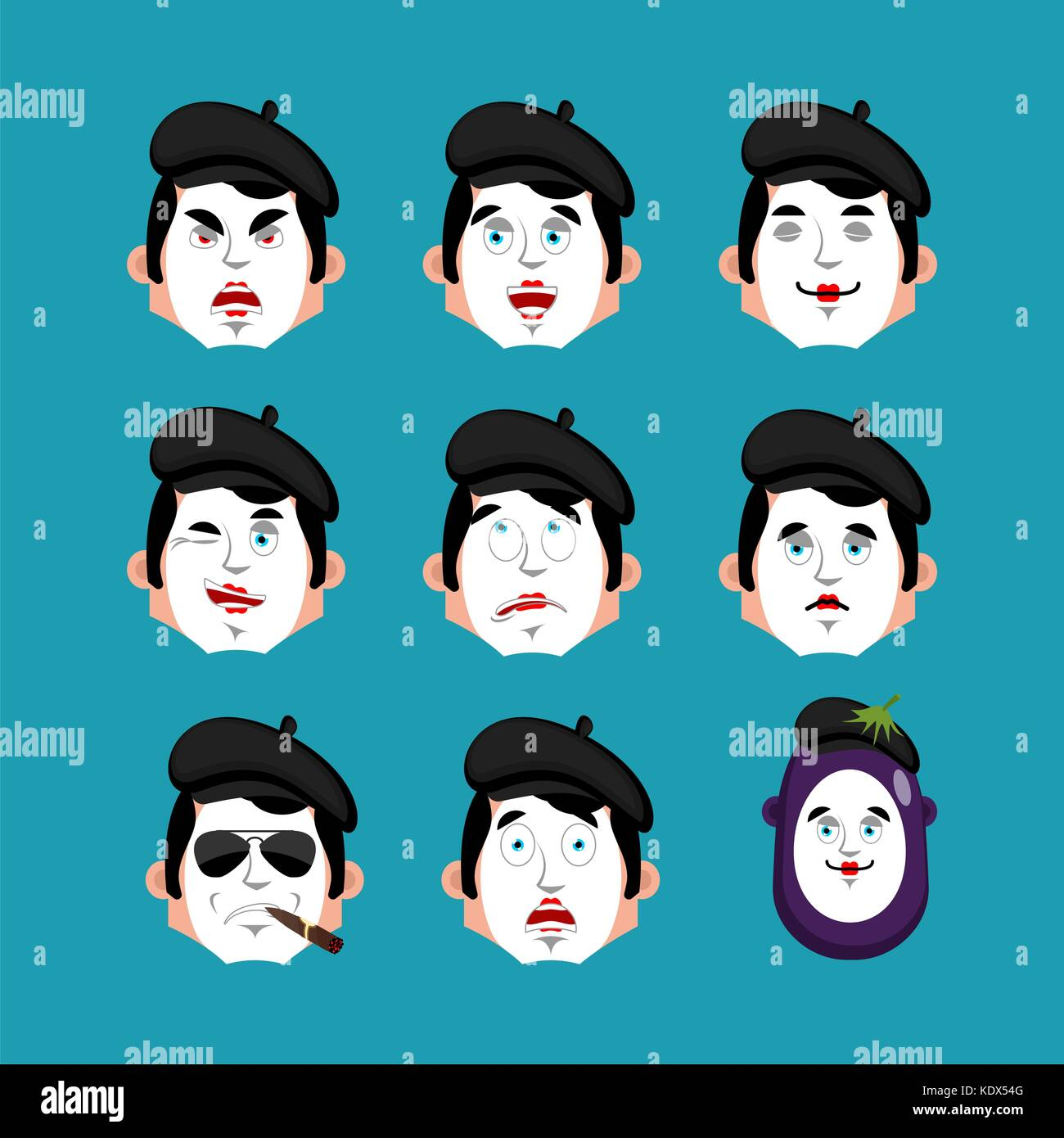 Mime face set. sleeping and evil emotion avatar. bewildered and sad pantomime emoji. mimic fear and happy icon. Stock Vector