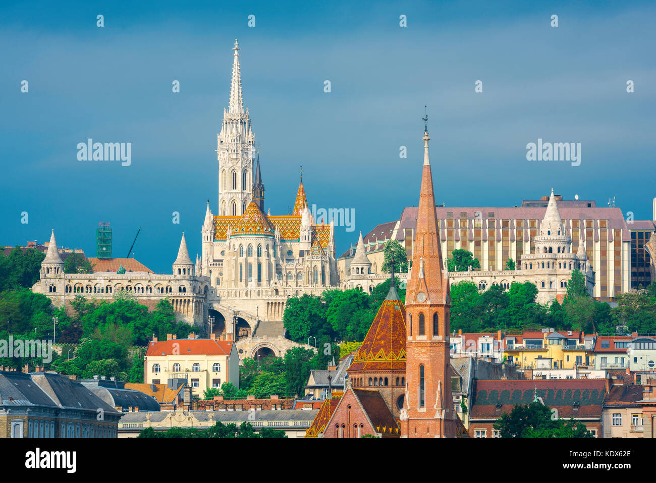 Budapest landmark, view of the Fishermen's Bastion and Matyas Church on Buda Hill on the west side of the city - Stock Image