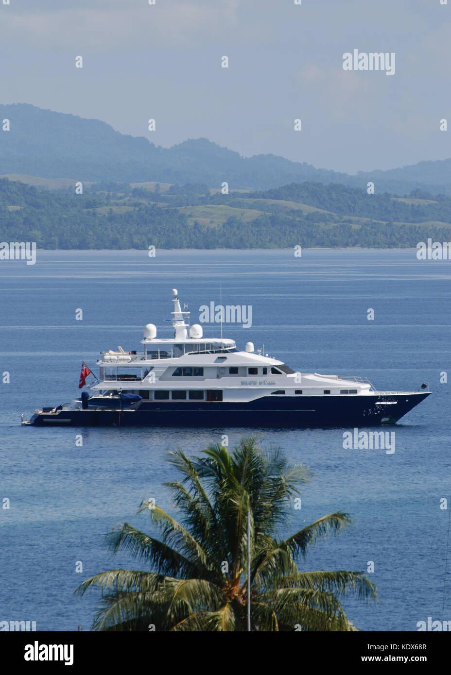 Superyacht in Solomon Island Waters - Stock Image