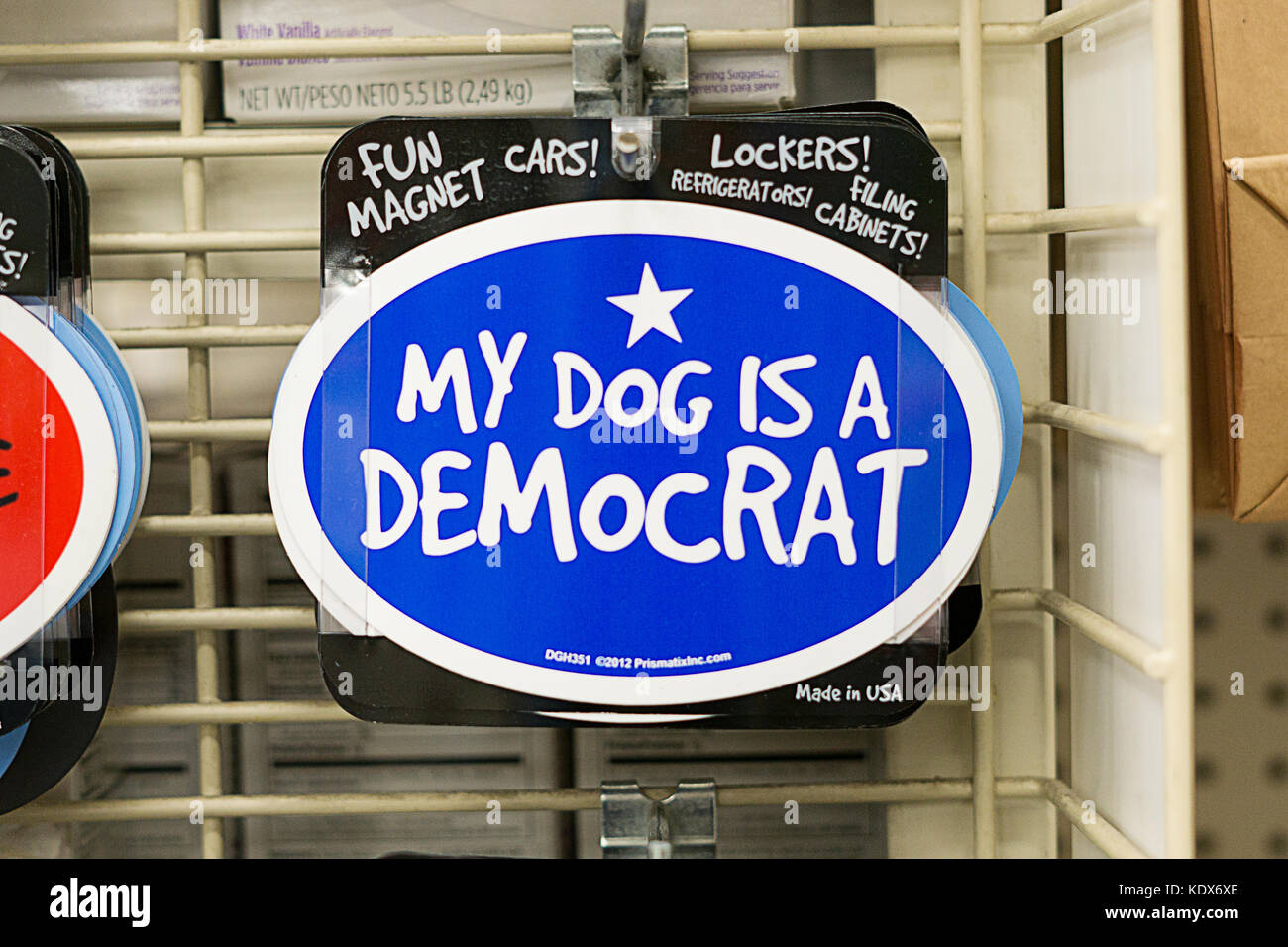 A fun magnet saying MY DOG IS A DEMOCRAT for sale at Michaels, an arts & crafts store in Westbury, Long Island, - Stock Image