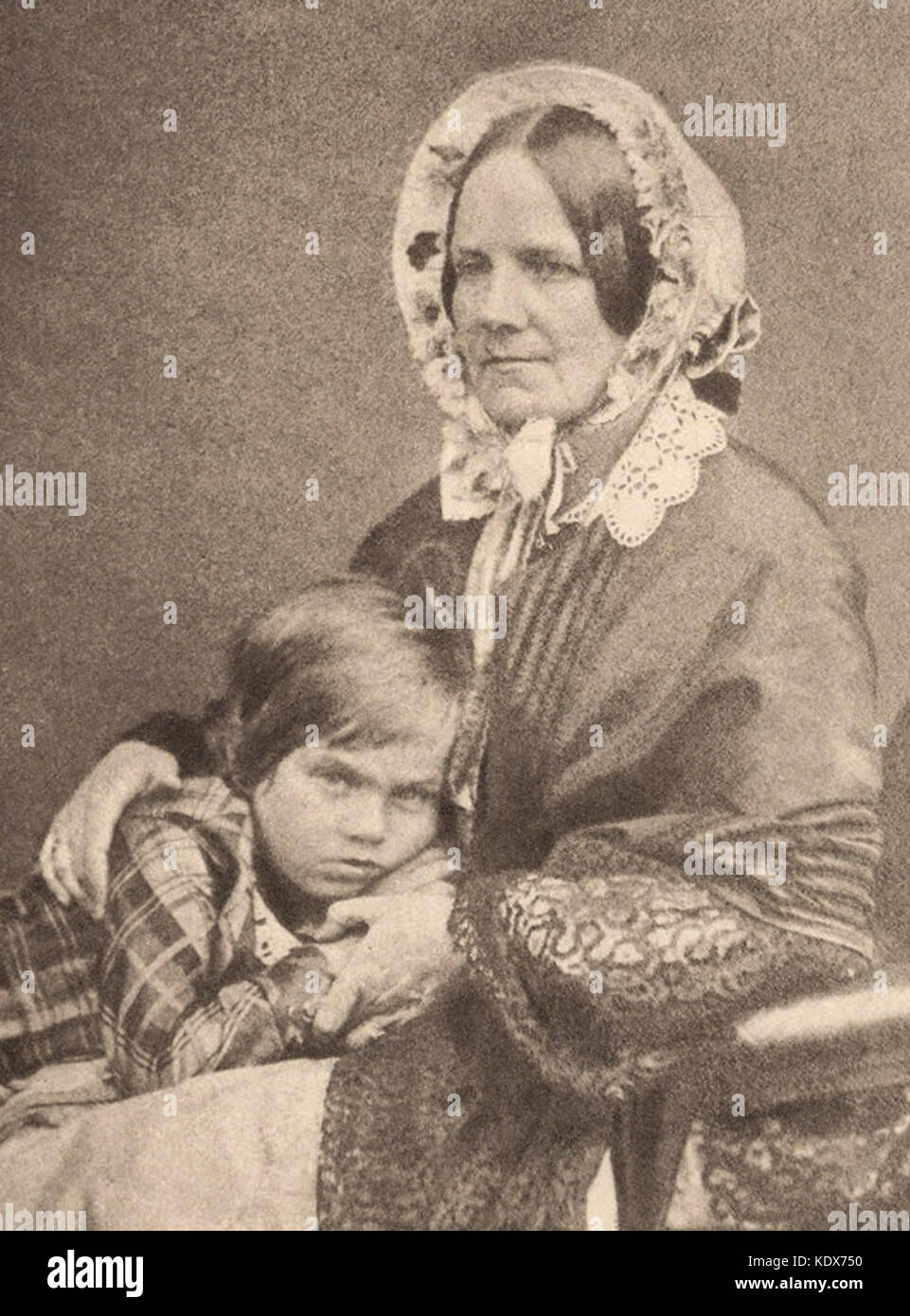 Emma Darwin, wife of Charles Darwin, with son Leonard Darwin - Stock Image